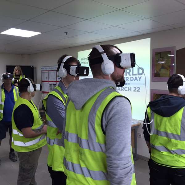 Production Operatives at our Trays Factory in Hull experiencing the VR headsets
