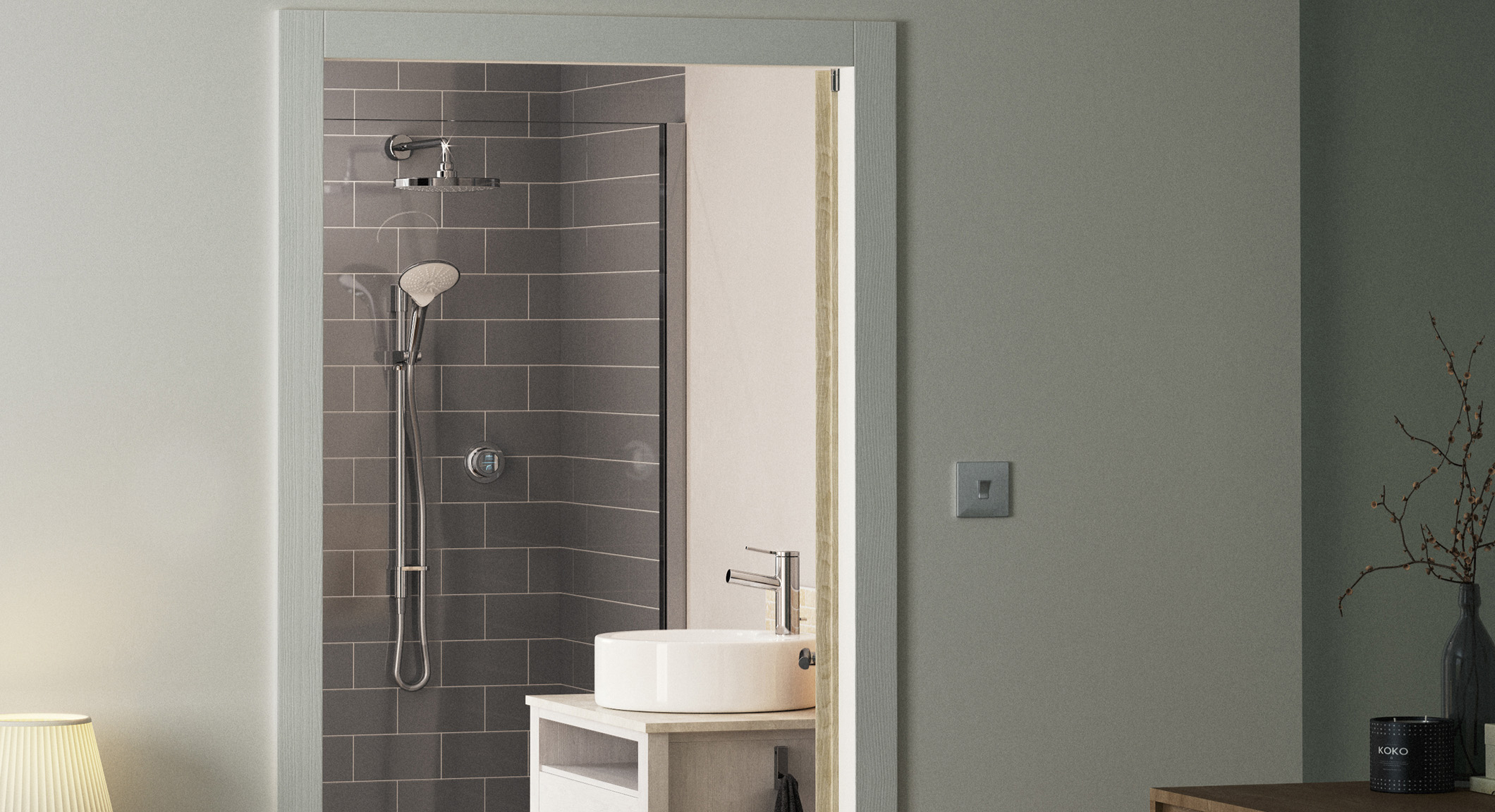 corner shower to maximise space