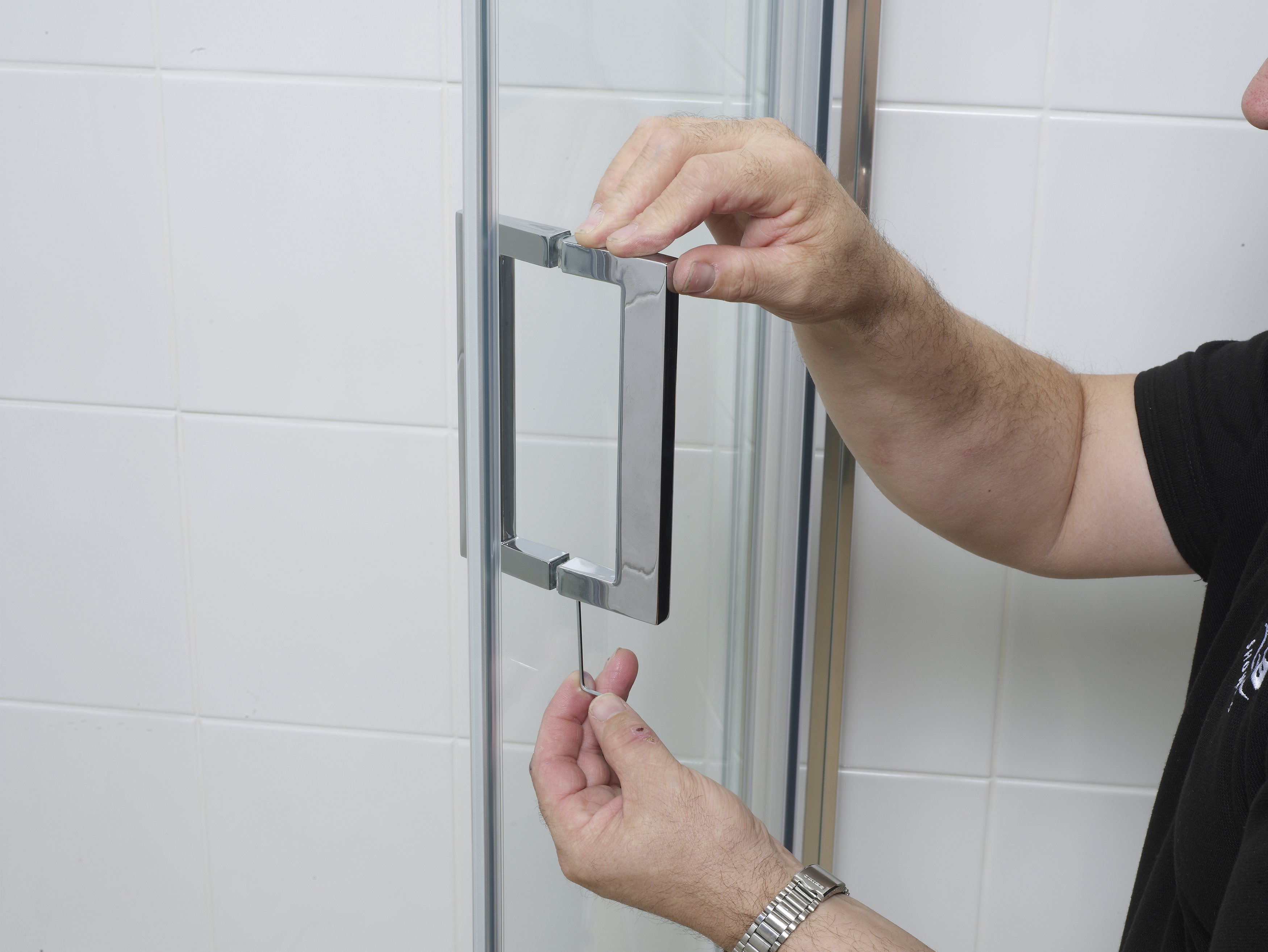 Connect the double handle assemblies to both sliding doors