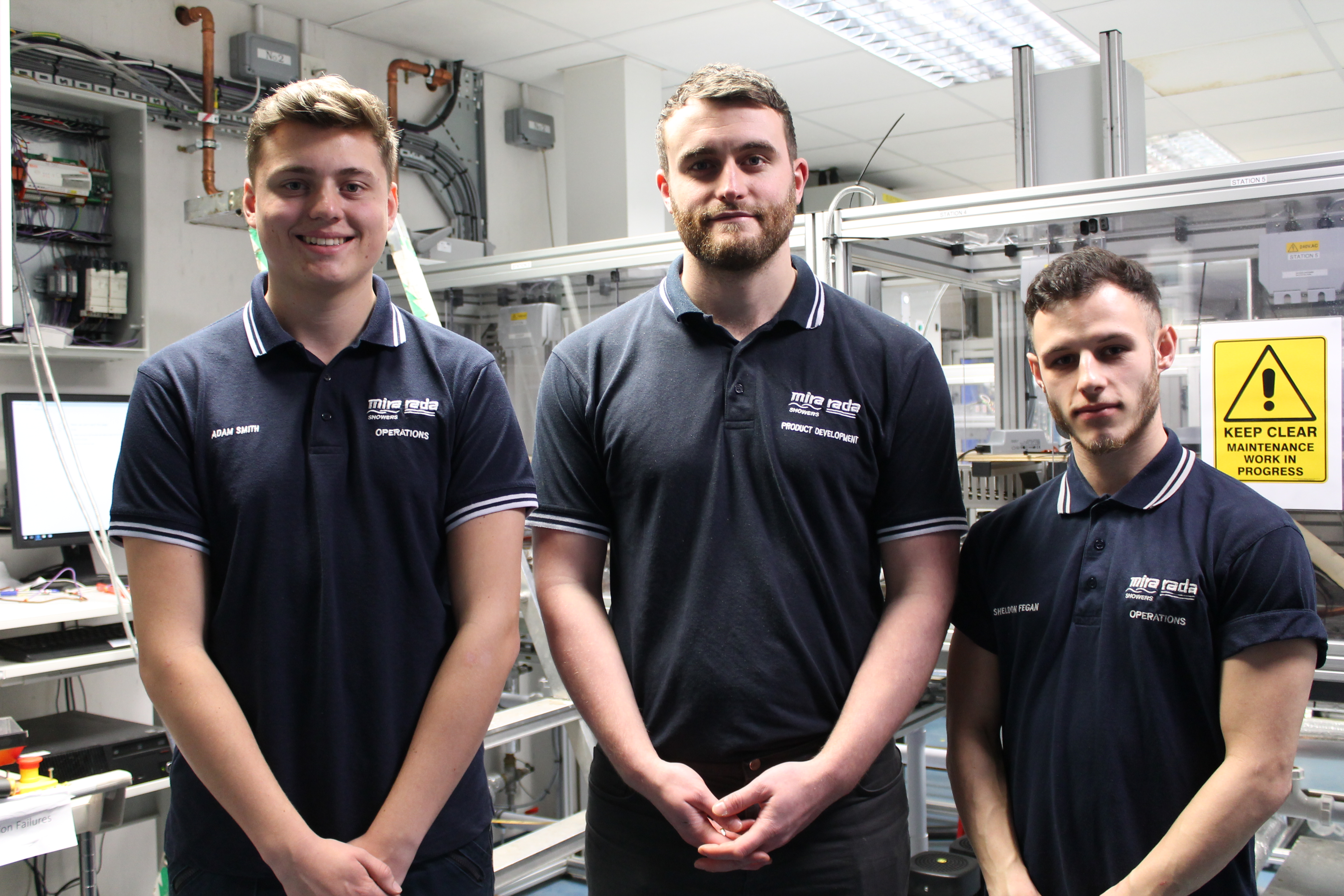 Adam (left) and Sheldon (right) with Apprentice Manager Tom Paddock
