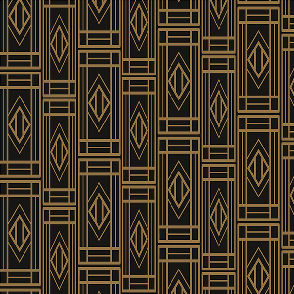 Gold and black art deco repetitive pattern