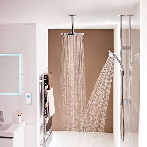 Mira vision dual shower with water spray in beige shower room