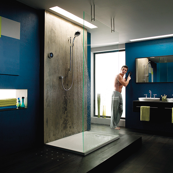 Bathroom with limewash wall shower and indigo walls