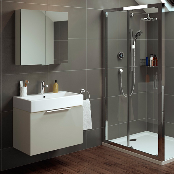 Example of a bathroom mirror height above a sink unit