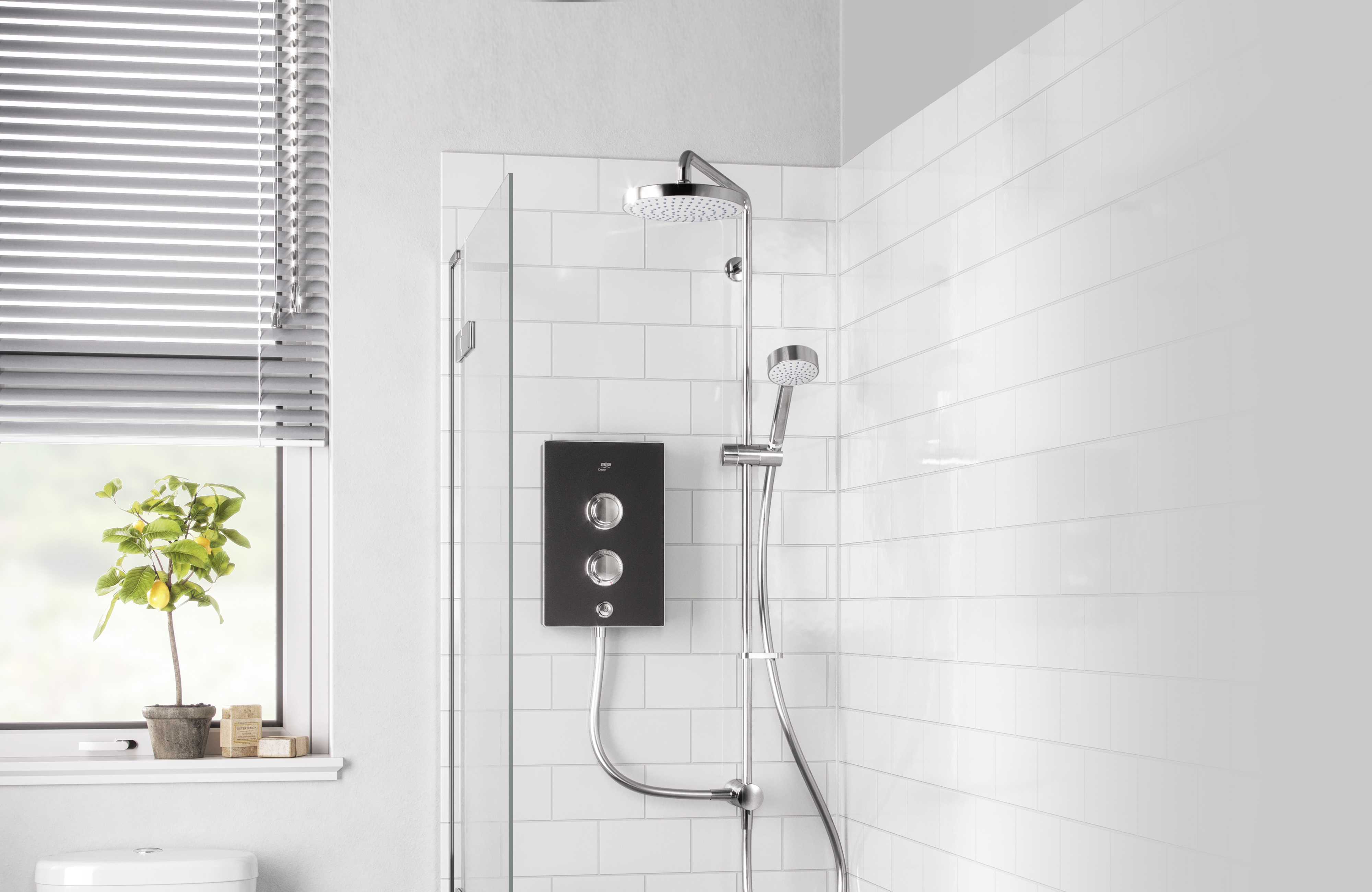 Mira Decor Dual Shower in white tiled bathroom